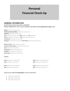 Personal Financial Check
