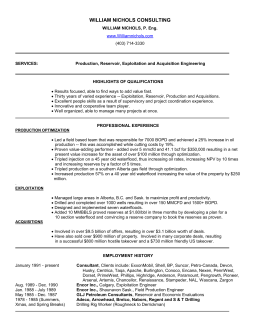 William Nichols - Resume - William Nichols Consulting