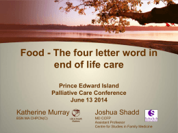Katherine Murray Food the four letter word PEI Palliative Care