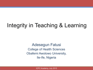 Integrity in Teaching & Learning