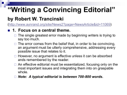 """Writing a Convincing Editorial"" by Robert W. Trancinski"