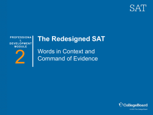 Teacher Training for the Redesigned SAT: Words in Context