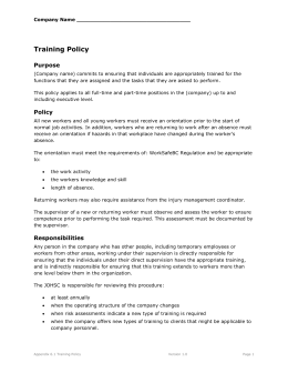 6.1 Training Policy
