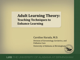 Adult Learning Theory and Teaching Techniques