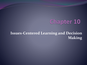 Issues-Centered Learning and Decision Making