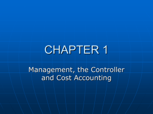 Management, The Controller and Cost Accounting