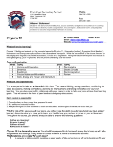 Physics 12 - Course Outline - Mr. Lawson's Website