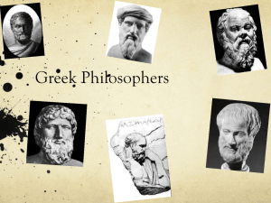 Greek Philosophers - A Place in the World
