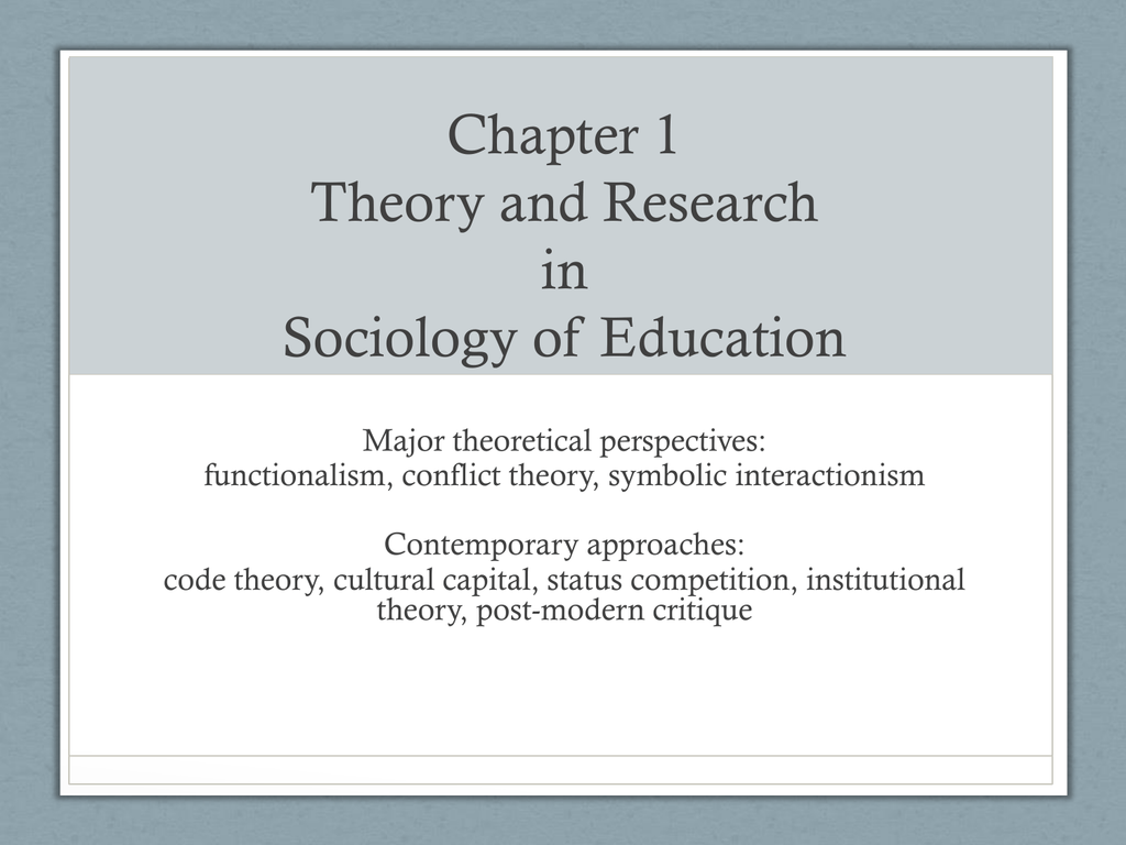 Sociology Of Education Ppt