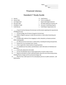 Name Date Hour ______ Financial Literacy Standard 7 Study Guide