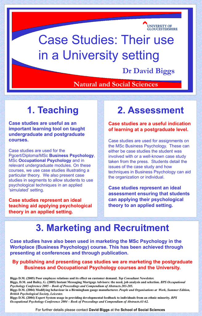 3  Marketing and Recruitment Case studies have also been used in