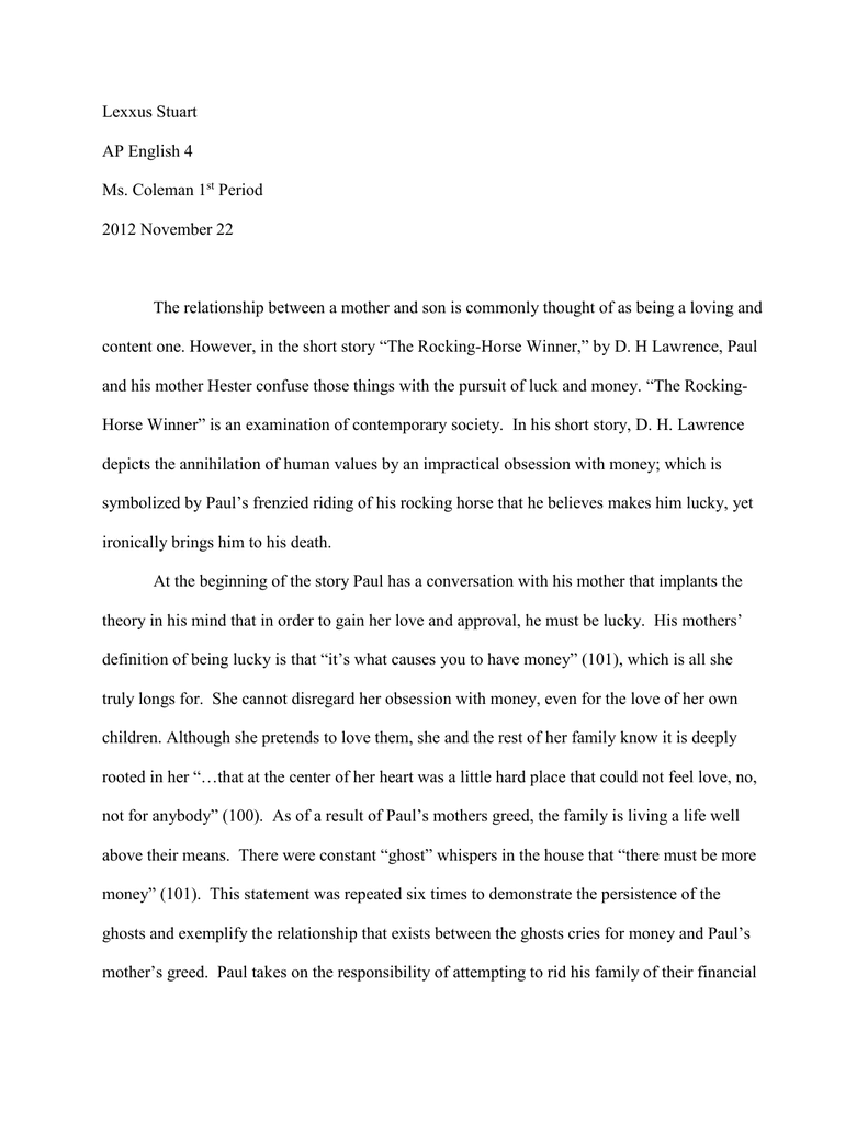Essay the rocking horse winner by d h lawrence custom personal essay editor sites