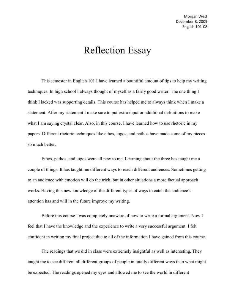 What should i write my reflective essay on