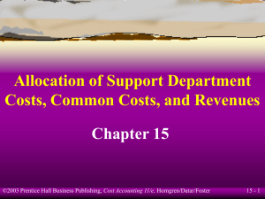 Allocation of Support Department Costs