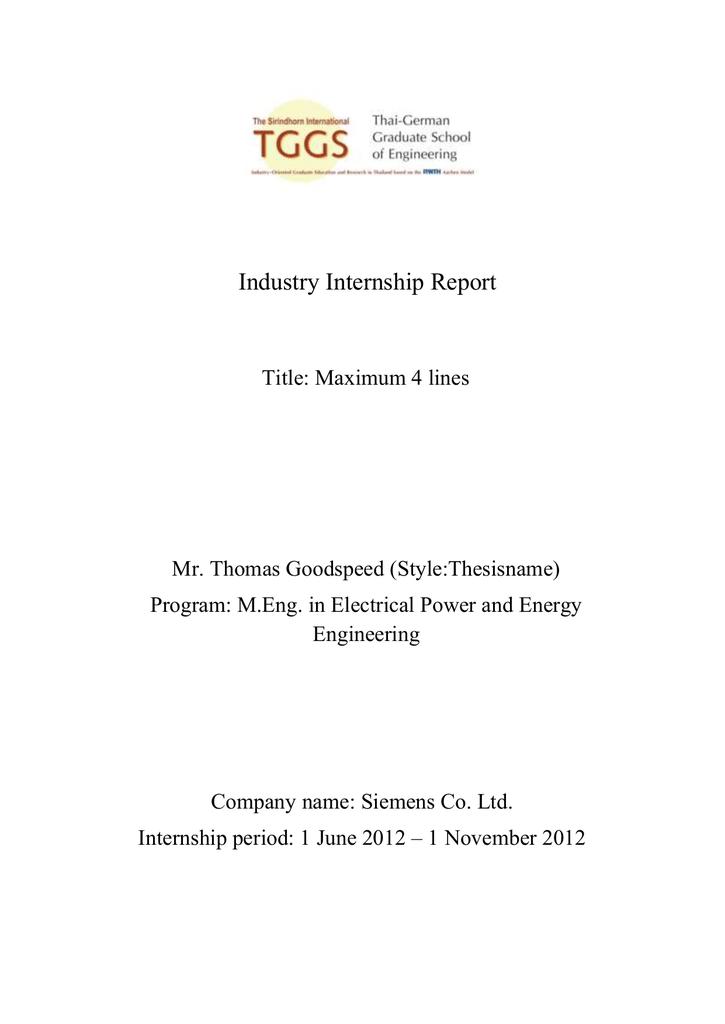 Internship report template - The Sirindhorn International Thai