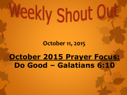 October 11, 2015 - Reedy River Missionary Baptist Church