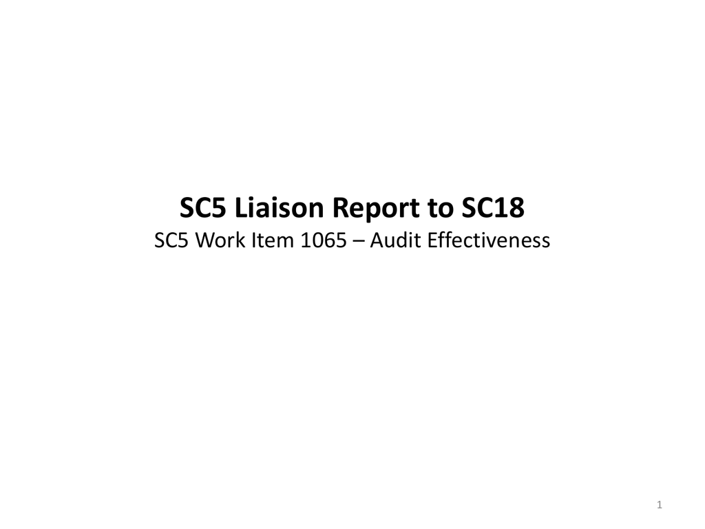 Attachment 1 - SC5 Liaison to SC18 Presentation