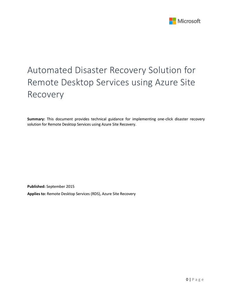 Remote Desktop Services DR Solution using ASR