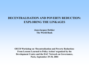 DECENTRALISATION AND POVERTY REDUCTION