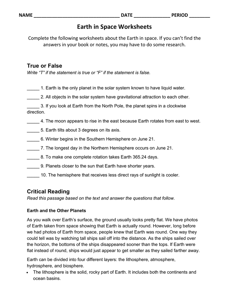 Earth In Space Worksheets