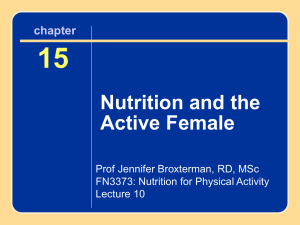 FN3373, Lecture 10 (OWL) – Ch 15 (The Female Athlete)
