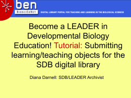 Tutorial: Submitting learning/teaching objects for the SDB digital library