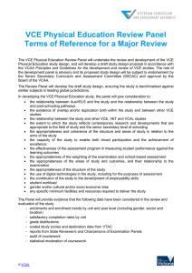VCE Physical Education Review Panel Terms of Reference for a