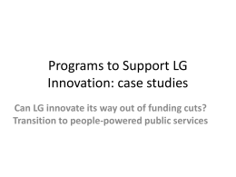 Programs to Support LG Innovation, global case studies