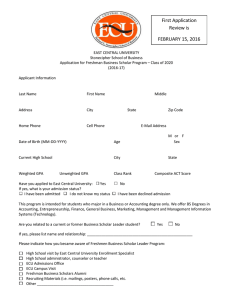 Application for Freshman Scholar Leadership Program