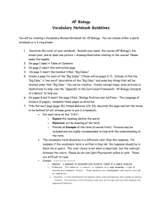 AP Biology Vocabulary Notebook Guidelines