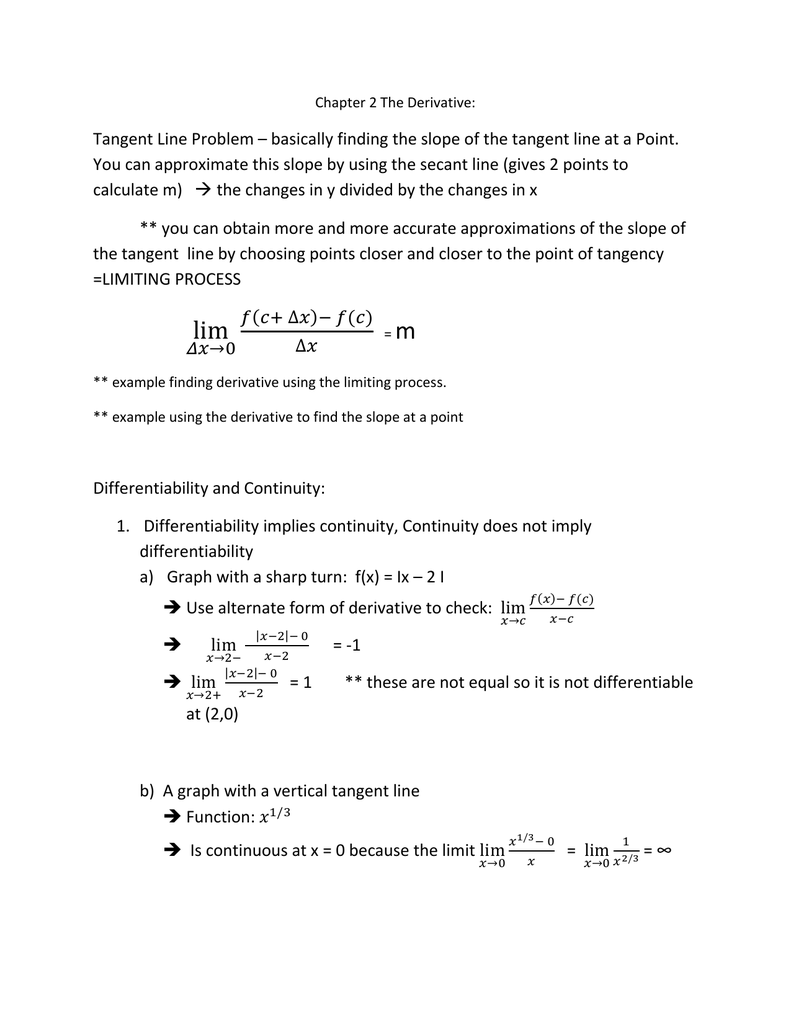 Notes Chapter 2- the Derivative