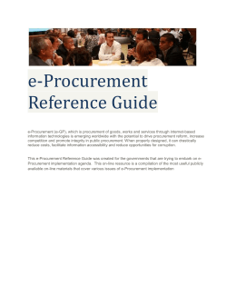 Overview of e-Procurement Reference Guide
