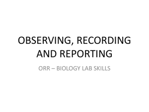 OBSERVING, RECORDING AND REPORTING