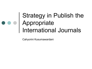 Strategy in Selecting the Appropriate International Journals