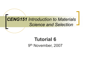 CENG151 Introduction to Materials Science and Selection Tutorial 6