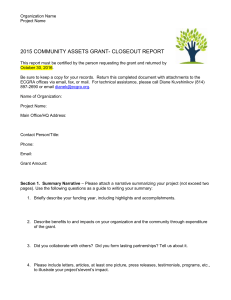 2015 Community Assets Grant Closeout Report