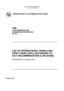 List of International Signalling Point Codes (ISPC) for