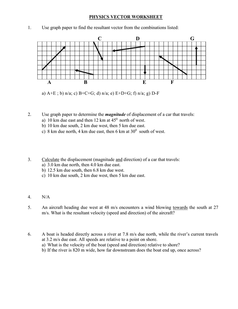 Vector Worksheet – Vectors Worksheet