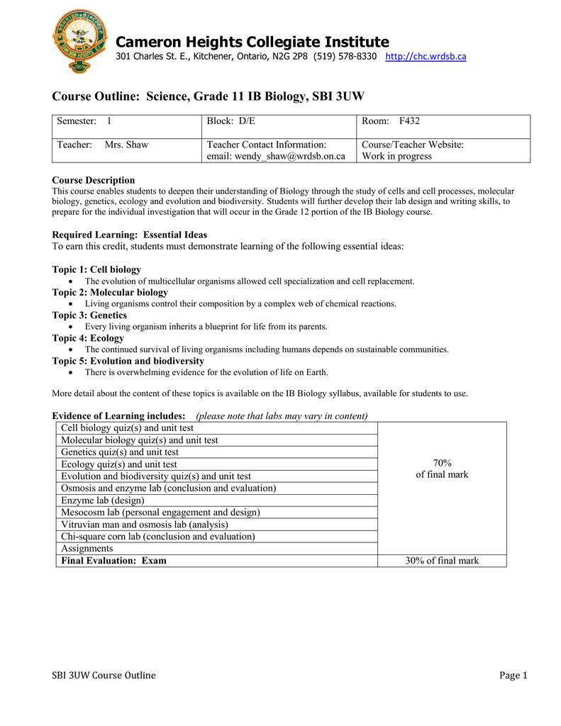 Course Outline: Science, Grade 11 IB Chemistry, SCH3UW