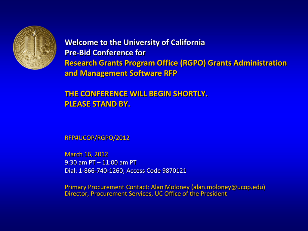 Welcome to the University of California Mandatory Pre