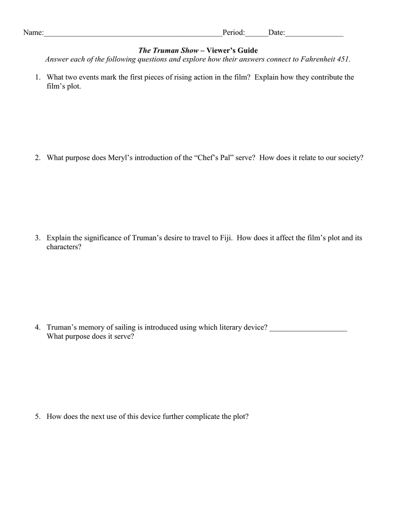 truman show essay questions science essay questions rules for  the truman show viewer s guide
