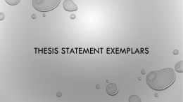 Thesis Statement Exemplars