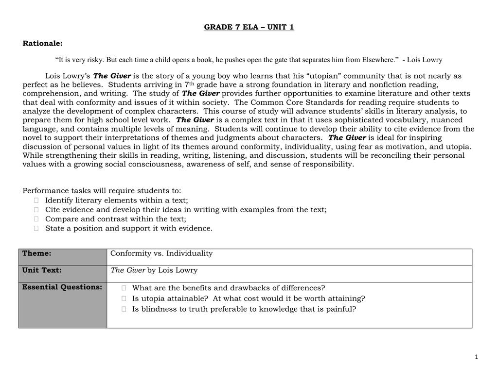 worksheet The Giver Symbolism Worksheet grade 7 ela unit 1 the giver