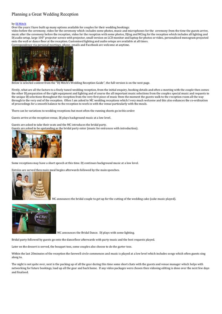 Wedding Reception Guide