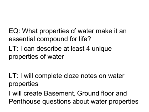 7. Properties of Water Cloze Notes
