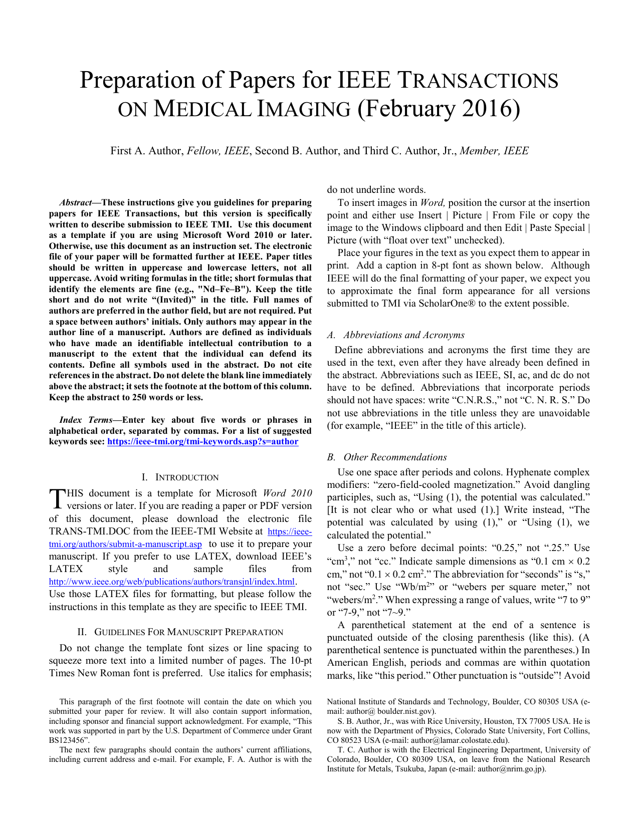 TMI Word style guide template - IEEE Transactions on Medical