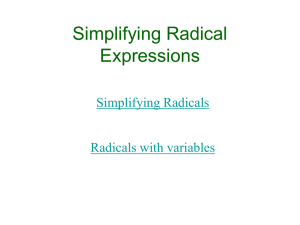 Multiplying and Dividing Radicals