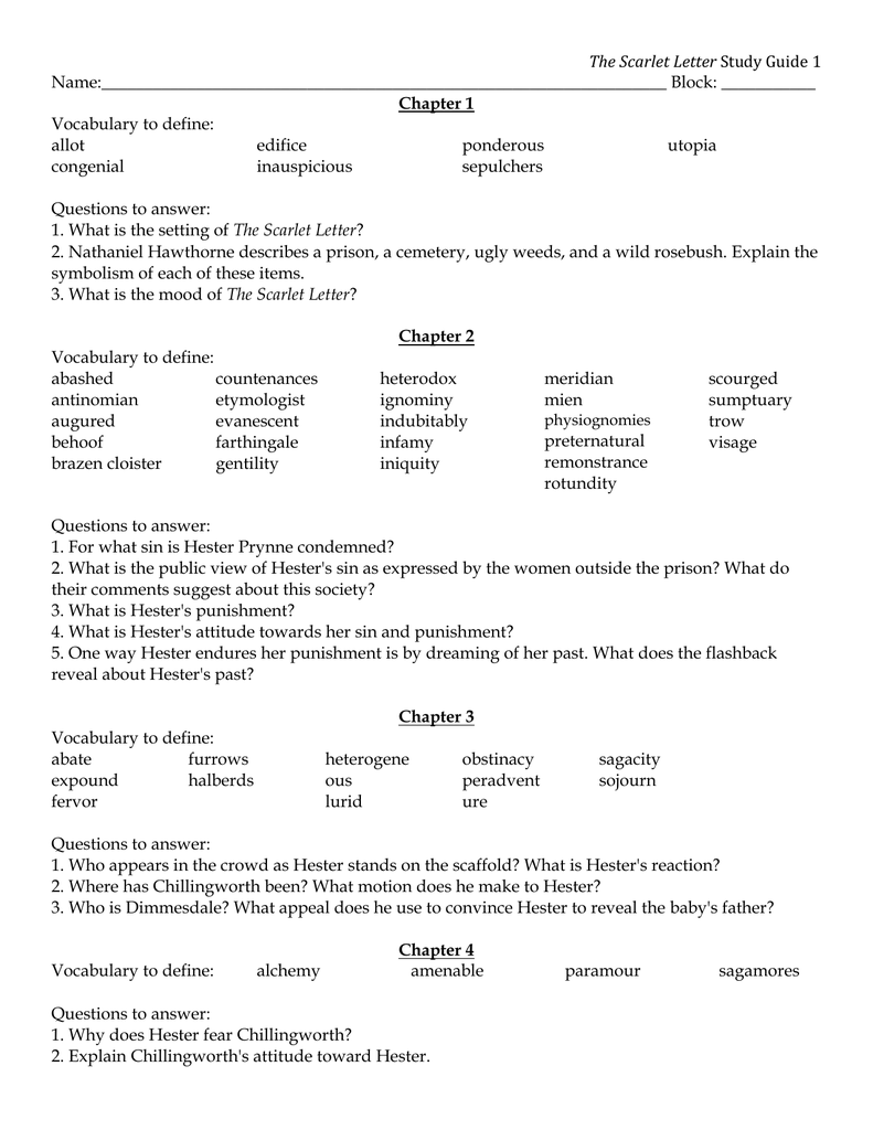 The scarlet letter study guide name block chapter 1 biocorpaavc
