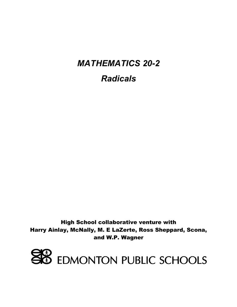 Mathematics 20 2 Radicals