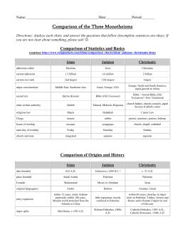 Monotheisms Comparison